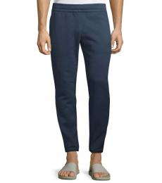 Solid Blue Cotton Drawstring Pants