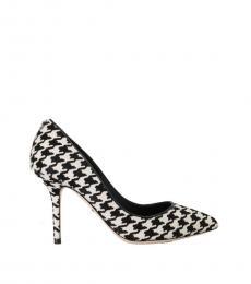 Black White Check Heels