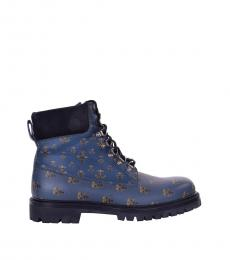 Dolce & Gabbana Blue Bees Crowns Ankle Boots