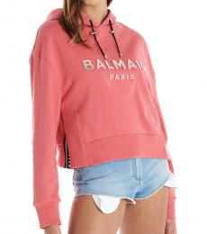 Balmain Pink Hooded Logo Sweatshirt