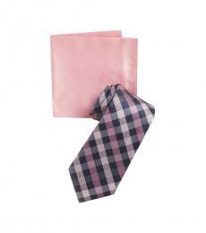 Michael Kors Purple Spectrum Small Plaid Tie & Pocket Square Set