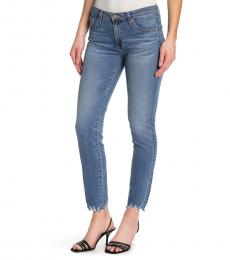 AG Adriano Goldschmied Blue Prima Frayed Hem Ankle Jeans