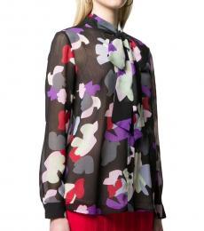 Emporio Armani Black Bow Detail Printed Shirt