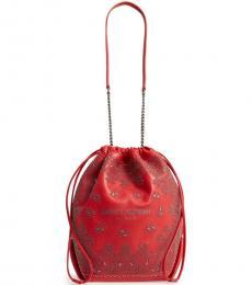 Saint Laurent Red Pochon Medium Bucket Bag