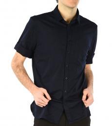 Navy Blue Short Sleeves Slim Fit Shirt