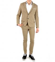Beige Cotton Single Breast Suit