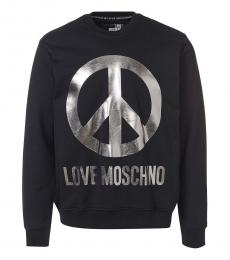 Love Moschino Black Crome Peace Logo Sweatshirt