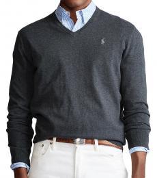 Ralph Lauren Dark Grey Cotton V-Neck Sweater