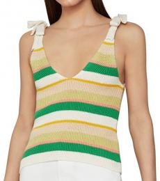 BCBGMaxazria White Ribbed Bow Tie Tank Top