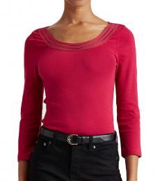 Ralph Lauren Bright Fuchsia Cotton Elbow-Sleeve Top