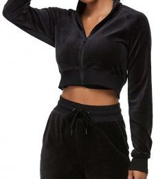 True Religion Black Velour Crop Sweatshirt Jacket