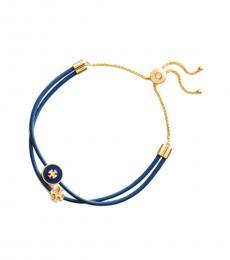 Tory Burch Blue Enamel Logo-Slider Bracelet