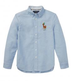 Ralph Lauren Boys Blue Big Pony Oxford Shirt