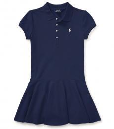 Ralph Lauren Girls Navy Stretch Mesh Polo Dress