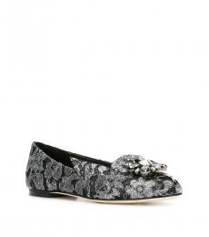 Dolce & Gabbana Black Silver Vally Lace Ballerinas