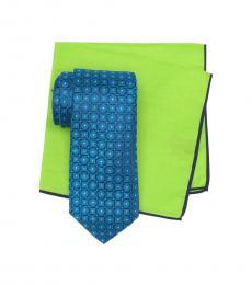 Ted Baker Aqua Circle & Square Tie & Pocket Square Set