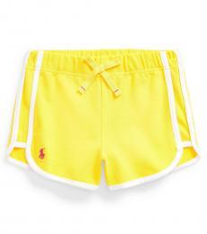 Ralph Lauren Girls Yellow Stretch Mesh Pull-on Shorts