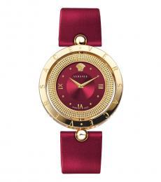 Versace Red Gold Logo Watch