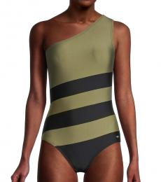 DKNY Olive Colorblocked One-Shoulder One-Piece Swimsuit
