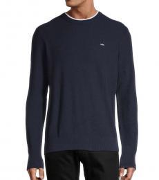 Michael Kors Navy Blue Logo Knit Pullover