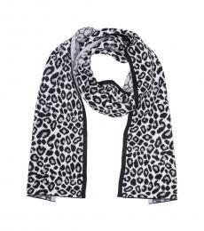 Michael Kors Pearl Heather Grey Leopard Print Scarf