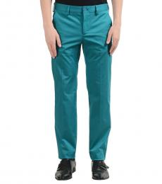 Versace Jeans Green Flat Front Dress Pants