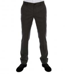 Dolce & Gabbana Grey Wool Striped Formal Pants