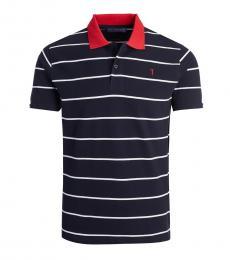 Trussardi Dark Blue Striped Logo Polo