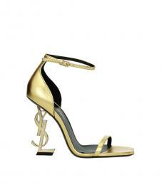 Saint Laurent Gold Open Toe Leather Heels