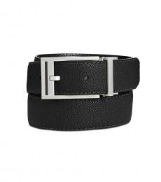 Black Reversible Leather Stitched Casual Belt