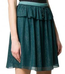 Kenzo Teal Metallic Flared Skirt