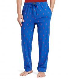 Ralph Lauren Sapphire Pony-Print Jersey Pajama Pants