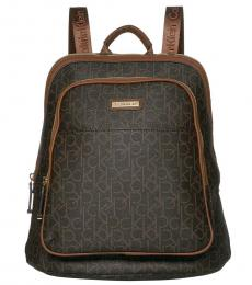 Calvin Klein Brown/Luggage Monogram Large Backpack