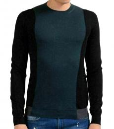 Teal Black Wool Crewneck Sweater