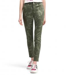 DKNY Green High-Rise Floral Print Jean