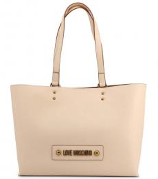 Beige Solid Large Tote