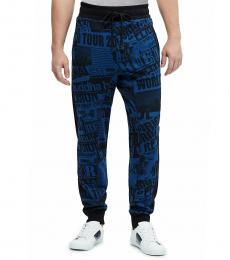 Dark Blue Slim Cuff Print Joggers