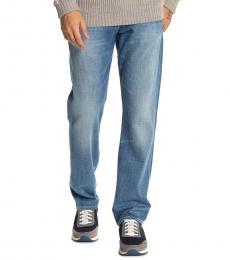 Blue Straight Slim Straight Jeans