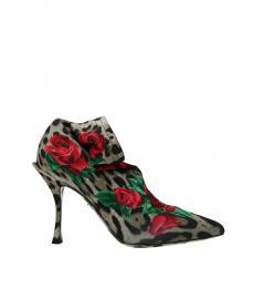 Dolce & Gabbana Leopard Print Lori Floral Booties