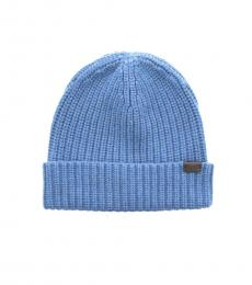 Coach Light Blue Solid Rib Knit Beanie