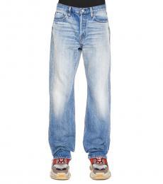 Balenciaga Blue Fringed Hem Jeans