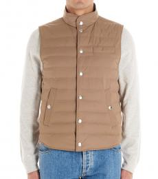 Beige Padded Buttoned Vest