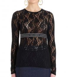 Dolce & Gabbana Black Logo Lace Top
