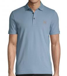 Blue Slim-Fit Logo Polo