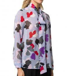 Emporio Armani Light Purple Bow Detail Printed Shirt