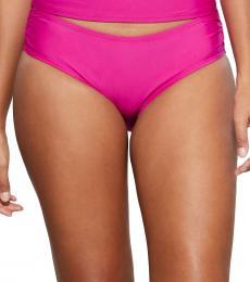 Dark Pink Ruched Hipster Bikini Bottom
