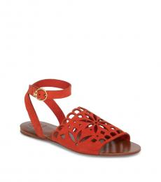 Tory Burch Poppy Orange Perforated Sandals