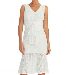 White V-Neck Midi Dress