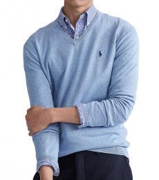 Ralph Lauren Light Blue Cotton V-Neck Sweater