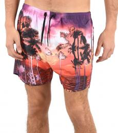 Purple Printed Boxer Beachwear